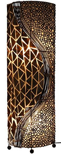 Guru-Shop Stehlampe/Stehleuchte, in Bali Handgemacht aus Naturmaterial, Capiz/Perlmutt - Modell Bromo, Fiberglas, 100x28x18 cm, Stehleuchten aus Naturmaterialien