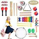 22 Pcs Wooden Toddler & Baby Musical Instruments Set Music Band Education Percussion Toys for Kids Preschool Educational, Musical Toys Set with Storage Pack
