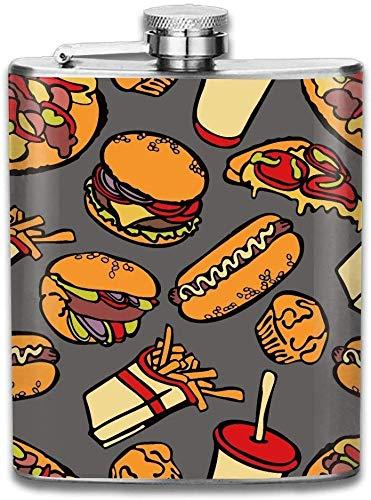 Vorgefüllte Flaschen für Schnaps, Hamburger Tomaten Käse Pizza Geschenke Top Shelf Flaschen Edelstahl Flasche 7 Unzen für Männer Frauen