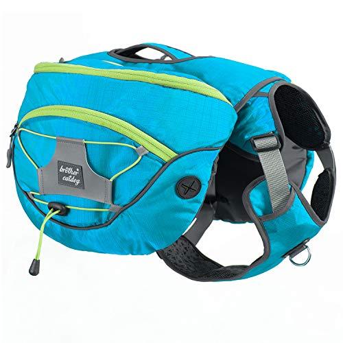 PETTOM Satteltasche Hund Hunderucksack Reflektierende für Wandern Reisen Camping Hundebackpack für Mittelgroße Große Hunde (Orange/Lila) (M, Blau)