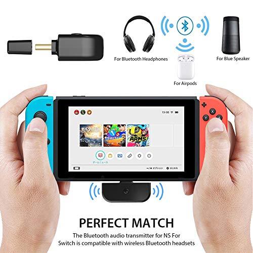 Rikey Adaptador de Audio Bluetooth, excelente transmisor de Audio inalámbrico de Auriculares duraderos NS para Interruptor