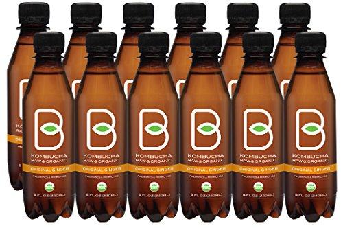 Kombucha Raw Organic Tea, Only 2g of Sugar, Probiotics & Prebiotic, Promotes Healthy Weight Loss, Kosher (B-tea Original Ginger, 12 pack x 8 oz)