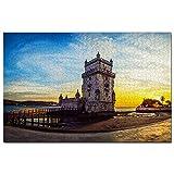 Puzle de madera de Portugal Belem Torre de Lisboa, 1000 piezas, para adultos, gráficos de juego, recuerdo de viaje, madera