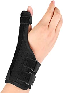 Thumb Support, Thumb Stabilizer Finger Protector with Removable Splint and Adjustable Straps for Arthritis, Trigger Thumb, Carpal Tunnel Pain Relief, Fits Left or Right Hand