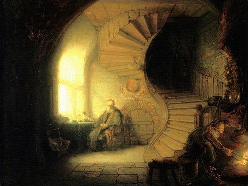 Posterlounge Cuadro de PVC 40 x 30 cm: Meditating Philosopher de Rembrandt Van Rijn