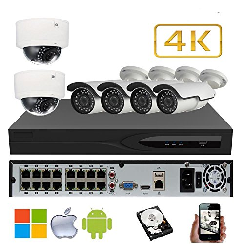 Best Prices! NightKing Ultra HD 8MP 4K IP Camera POE Security System,4Pcs Bullet +2Pcs Dome Camera,4...