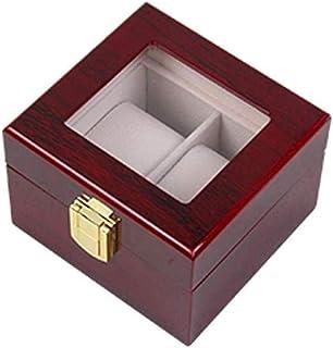 HEMFV Watch Jewelry Box 2 Slot Watch Box Display Box Large Watch Display Case Organizer with Real Glass Window Top