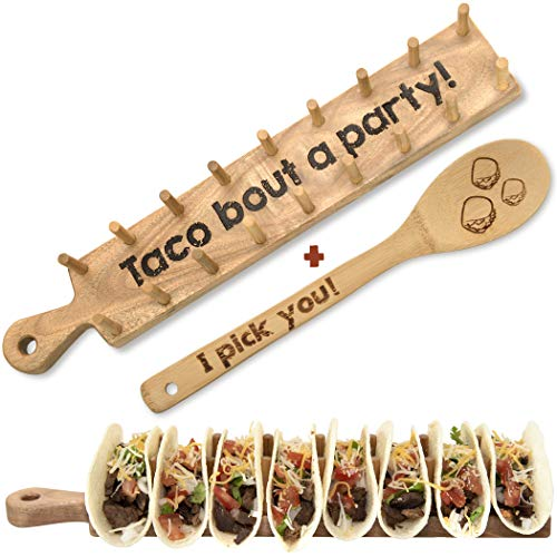 Wooden Taco Holder Tray Stand – Rack Holds 8 Soft or Hard Shell Tacos – Great for Tortillas, Burritos, Home, Parties & Restaurants - Trendy Together