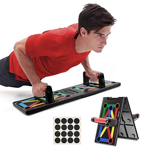ZOOYAUE 12 in 1 Push Up Board Liegestütz Brett Fitness Board mit Handgriff, Multifunktions Muscleboard Faltbare Liegestützbrett für Heimtraining Brust Muskel Arm Muskel