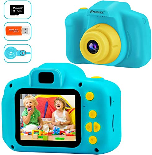 PROGRACE Sehr Klein Kinderkamera Kinder Digitalkameras für Jungen Mädchen Geburtstag Spielzeug Geschenke Geschenke Gadgets 4-12 Jahre Videokamera Kleinkind Recorder 8G Speicherkarte enthalten-Blau