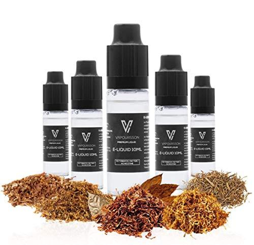 VAPOURSSON 5 X 10ml E Liquid - Tabakgenuss, 0 mg (Ohne Nikotin) - Klassischer Tabak (Wüste) USA Mix, Goldmischung (VA-Mischung), Klassische Zigarre (CIGURY CIGAR), Glatter Tabak (CAMONIA)