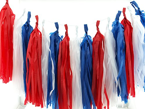 4th of July Party Garland, Red, White & Blue Paper Streamers (Set of 15) - Independence Day Party...