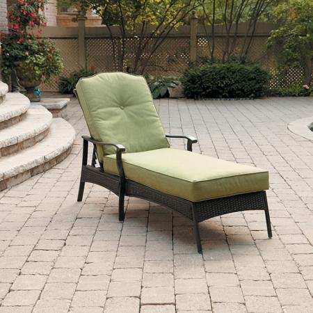 Better Homes and Gardens Providence Chaise Lounge, with UV-Protected Fabric Cushions and Adjustable Back,Sit Comfortably,Perfect for Outdoor (Green) (Green)