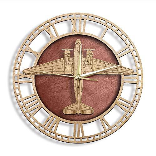 yrfchgj Reloj De Pared Aviones Avión Reloj De Pared De Madera Aviadores Decoración del Hogar Reloj De Pared Transporte Militar Tropa Relojes Decorativos