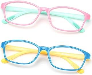 Gaoye 2 Pack Kids Blue Light Blocking Glasses, Computer Gaming Eye-Glasses Girls Boys Anti UV Ray Lens Square Fake Frames