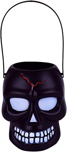 new arrival Halloween Trick outlet online sale or Treat Candy Bucket - Multi-Purposed Plastic Skull & PumpkinBucket Snack Holder high quality Buckets Halloween Decorations Kids Gift (2pcs) online sale