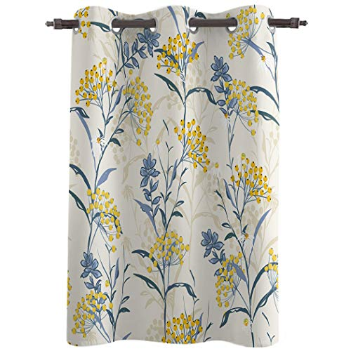 """Chic D Window Curtains Drapes Panels, 84 Inch Length, Window Treatments for Bedroom Kitchen Living Room, Vintage Floral Plant, 52"""" Wide Grommet Thermal Insulated Darkening Curtain, Yellow Blue"""