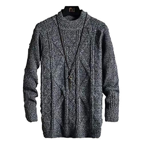 Suéter para Hombre Mangas con Hombros caídos Cuello Alto de Punto Trenzado Color sólido Moda Delgada Todo-fósforo Casual Pullover M