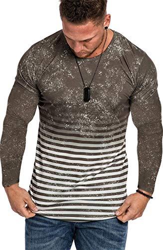 Camisa Manga Larga para Hombre Algodón Básico Camiseta Básica Longsleeve para Hombre Camiseta de Manga Larga