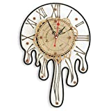 Automaton 1456 Melting Wall Clock, Handcrafted Large Clock Modern, Abstract and Unique Salvador Dali style design, Wooden Home Decor for Kitchen, Living Room and Office, Personalized Decorative Art
