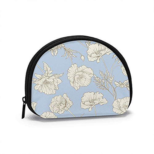 Poppy Flowers Botanical Vintage Botanic Nature Small Coin Purse for Women Cute Coin Pouch for Girl Coin Bag Storage Bag Shell Wallet 4.7x3.5 in