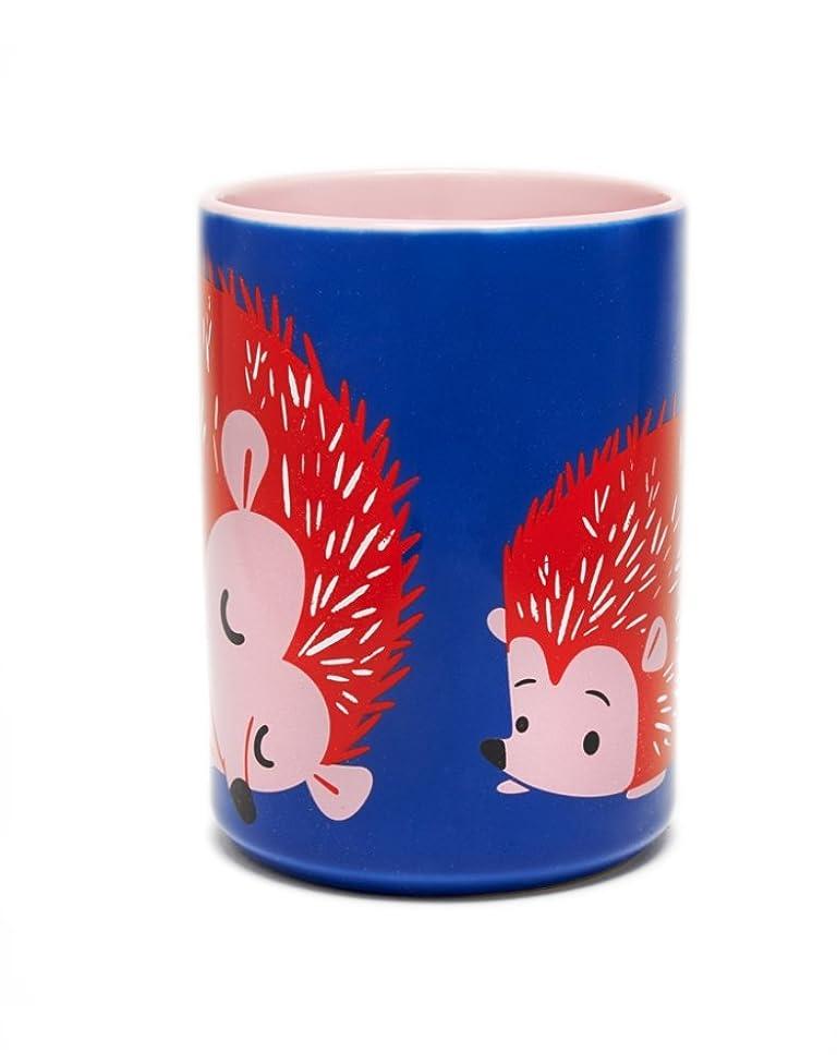 Kitsch'n Glam Hedgehog Ceramic Coffee Mug- 16 Ounce (Blue)