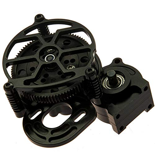 Que-T Aluminum Alloy Center Transmission Case /Gearbox with Helical Gear for 1/10 Axial SCX10 RC Crawler Car (Black)