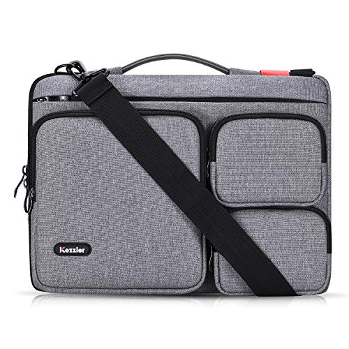 iCozzier 13-13.3 inch Thri-Sidepocket Laptop Sleeve with Handle and Shoulder Strap/Multifunctional Business Laptop Briefcase for 13 Inch Ultrabook/Notebook/MacBook- Dark Grey