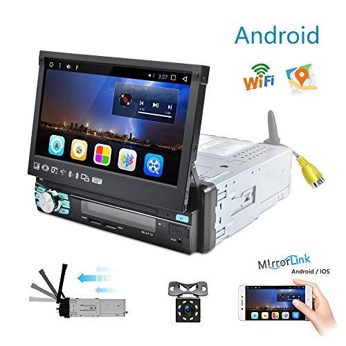 Autoradio Android 1 Din GPS Navigazione Camecho 7 pollici Touch Screen retrattile FM AM RDS Radio Bluetooth MP5 Player Dulica Schermo Dual USB SD Slot + Telecamera di retromarcia