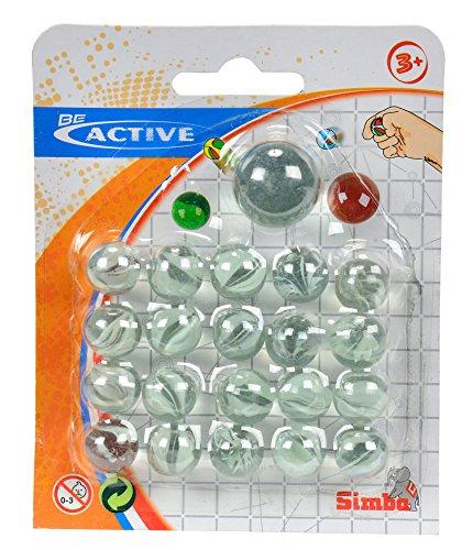 Simba - Canicas de Vidrio en blíster - 20 Canicas de 16 mm más una Canica Extra Grande de 25 mm - Colores aleatorios (7408218)