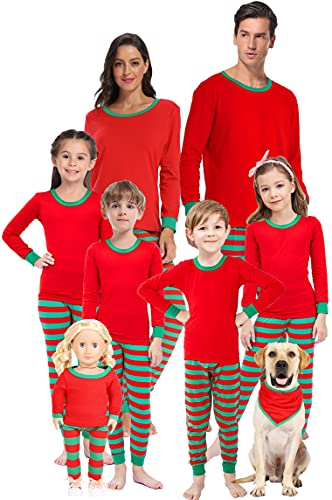 Matching Family Pajamas For Christmas Red Green Striped Jammies Mum and Me Pjs Holiday Cotton Sleepwear Men Size L