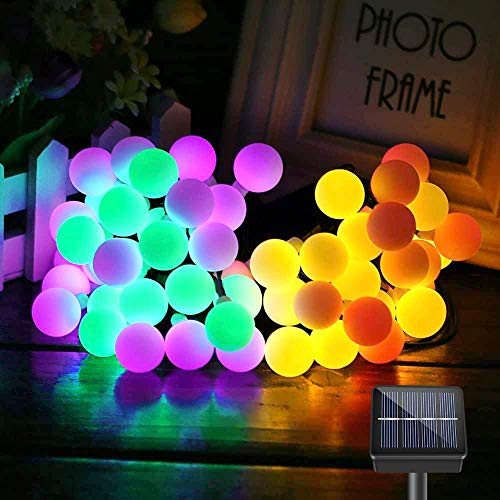 Solar String Lights Outdoor, 60 LEDs 10M Solar String Lights Waterproof 8 Modes Outdoor Fairy Lights Globe for Garden, Patio, Yard, Party, Wedding, Festival Decoration (Colorful)