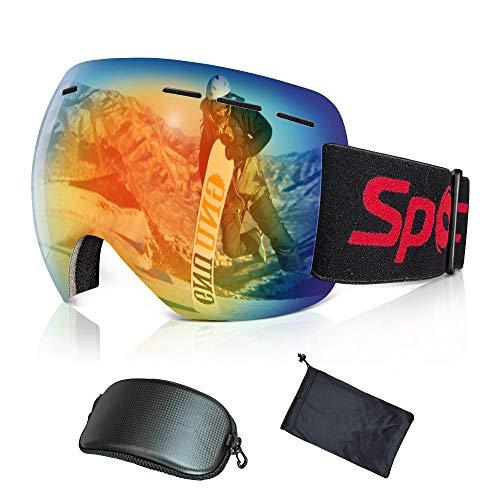 スノーボード ゴーグル、スキー ゴーグル、フレームレススノーゴーグル 、ダブルレンズ スノーボードゴーグル スノースポーツ用ゴーグル 100%UVカット メガネ対応 軽量 防風 防塵 防雪 耐衝撃男女兼用