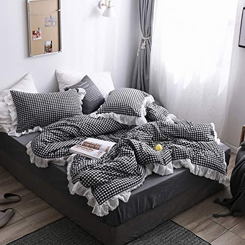 ギンガムチェック柄寝具カバー 綿100% フリルの掛け布団カバー シングル・枕カバー2枚