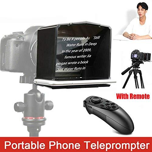 Portátil Teléfono Teleprompter,Teleprompter con 8 Lente Adaptador Anillos,Ajustable Velocidad Delantero Talla Color,para Entrevista Discurso TV Show. Compatible Cámara DSLR Accesorio Móvil debajo