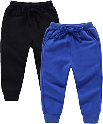 203d9c8d157 ALALIMINI Boys Girls Pants 2-Pack Active Jogger Casual Basic Unisex Little  Kids Sweatpants ...