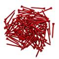 THIODOON Golf tees 2 3/4 inch Less Friction Wood Tees Training for Golfer Professional Natural Wood Golf tees Bulk 100 Count Golfing Tees(Red,2-3/4 inch 70mm)