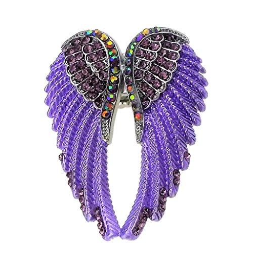 Anillo De ala De ángel con Diamantes De Imitación Elástico De Moda para Mujer Anillo Biker - Morado
