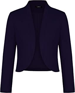 Women's Blazers Long Sleeve Cropped Blazer Fully Lined Collarless Casual Work Office Jacket