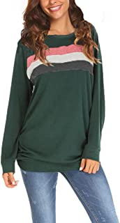 Qearal Women's Raglan Long Sleeve Loose Casual Pullover Tunic Sweatshirt Tops