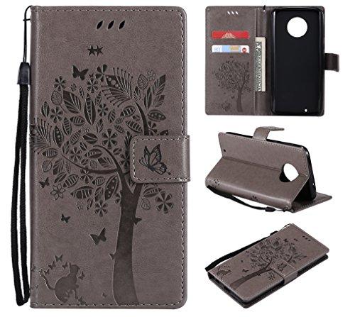 CMID Moto G6 Hülle, PU Leder Brieftasche Handytasche Flip Bookcase Schutzhülle Cover [Kartensteckplatz][Magnetverschluss][Ständer][Handschlaufe] für Motorola Moto G6 (B-Grau)