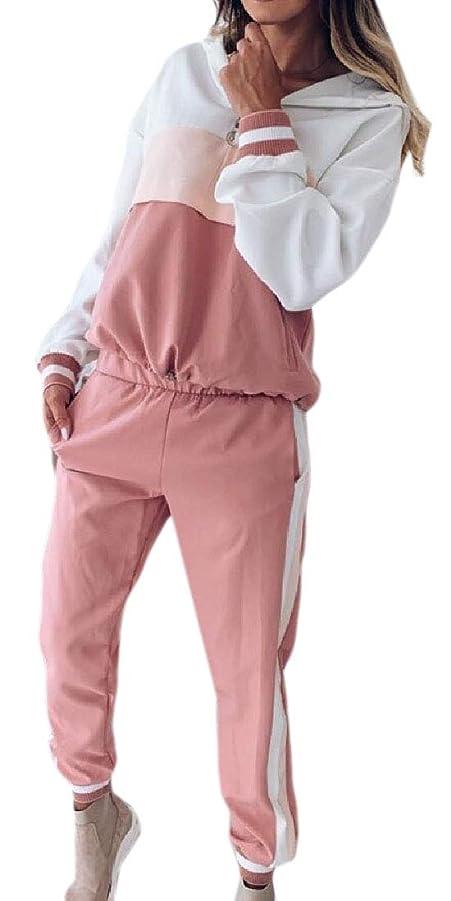 家設計図本物Women Color Block 2 Pieces Long Sleeve T-Shirt Tops and Long Pants Set Sweatshirt