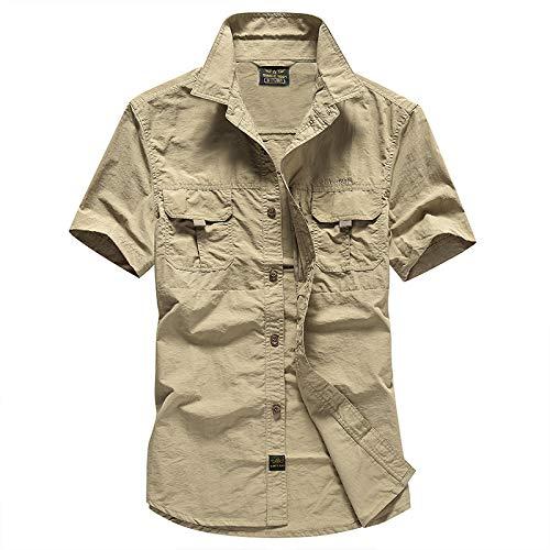 Camisa de Carga de Gran tamaño para Hombres, Moda, Color sólido, Costura, Tendencia, Ropa de Calle, Camisas Casuales de Manga Corta de Secado rápido XXL