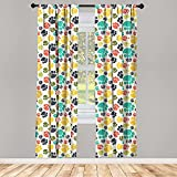 Ambesonne Dog Lover Curtains 2 Panel Set, Hand Drawn Paw Print Doodles Circular Pattern Children Drawing Style Animal, Lightweight Window Treatment Living Room Bedroom Decor, 56' x 63', Charcoal Beige