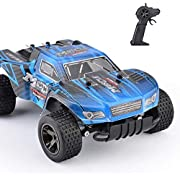 STOTOY RC Car 30km/h 1/18 Scale 2WD, Rock Off-Road RC Truck 2.4GHz, Fast Racing Cars Indoor/Outdoor Toy for Kids and Adults-Blue