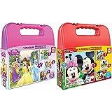 Educa Princesas Disney Maleta, Conjunto De Puzzles Progresivos, Multicolor (16508) + Mickey Mouse Maleta con Puzzles Progresivos, Multicolor (16505)