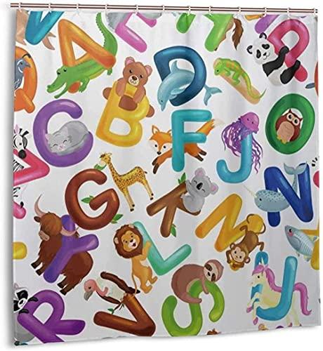 Duschvorhang Tiere Alphabet Set für Kinder ABC Bildung im Vorschulalter Wasserdichter Stoff Badevorhang für Badezimmerdekoration mit Haken 72 x 72 Zoll