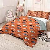 HELLOLEON Peach Paquete de 3 (1 funda de edredón y 2 fundas de almohada) Peces de cama, diseño náutico marino criatura subacuática animal acuario formas ornamentadas poliéster (Queen) Multicolor