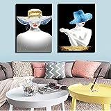 ganlanshu Retrato de Sombrero de Labios Pintura al óleo Imagen de Arte de Pared decoración de Sala de Estar Cartel de Sala de Estar,Pintura sin Marco,30X45cmx2