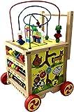 Baby Walker Lauflernhilfe Motorikspielzeug Lauflerner Motorikwuerfel aus Holz auf Rädern zum...